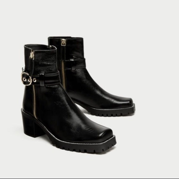 67fc2d9d545 Leather biker ankle boots with square toes